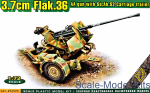 ACE72570 Flak.36  3.7cm. AA gun with Sd.Ah.52 carriage trailer
