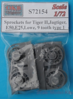 OKB-S72154 Sprockets for Tiger II,Jagtiger,E50,E75,Lowe, 9 tooth type 1 (8 per set)