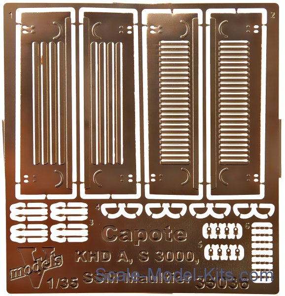 Photoetched set of details capote KHD A, S3000/SSM Maltuier WWII German army truck (ICM)
